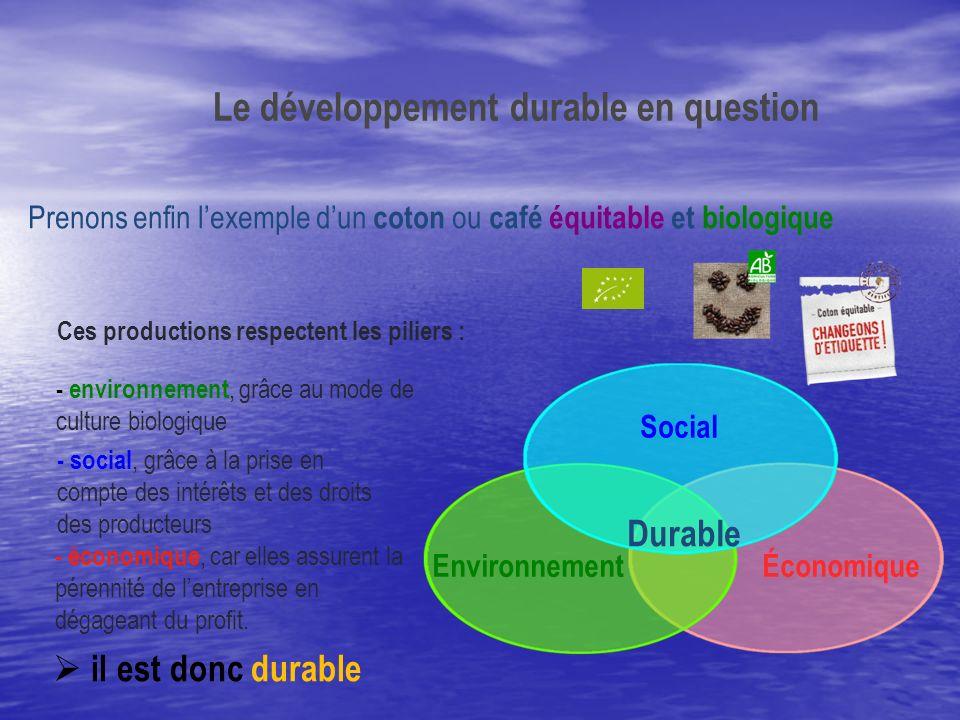 ÉconomiqueEnvironnement Social Prenons enfin lexemple dun coton ou café équitable et biologique - économique, car elles assurent la pérennité de lentr