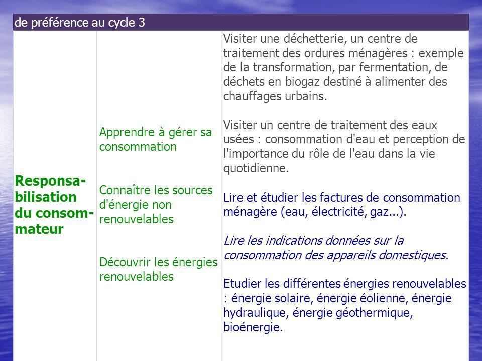 de préférence au cycle 3 Responsa- bilisation du consom- mateur Apprendre à gérer sa consommation Connaître les sources d'énergie non renouvelables Dé