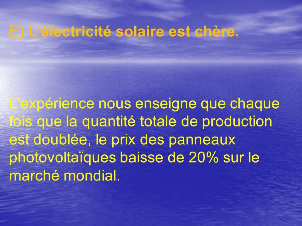 E) Lélectricité solaire est chère. L'expérience nous enseigne que chaque fois que la quantité totale de production est doublée, le prix des panneaux p