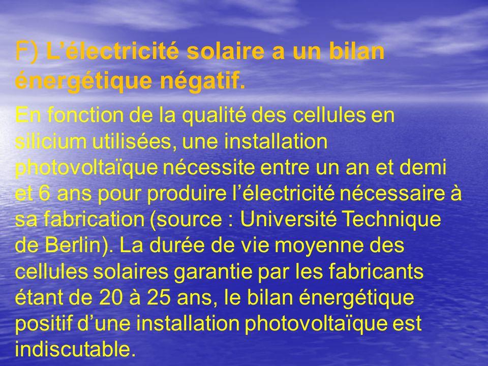 F) Lélectricité solaire a un bilan énergétique négatif. En fonction de la qualité des cellules en silicium utilisées, une installation photovoltaïque