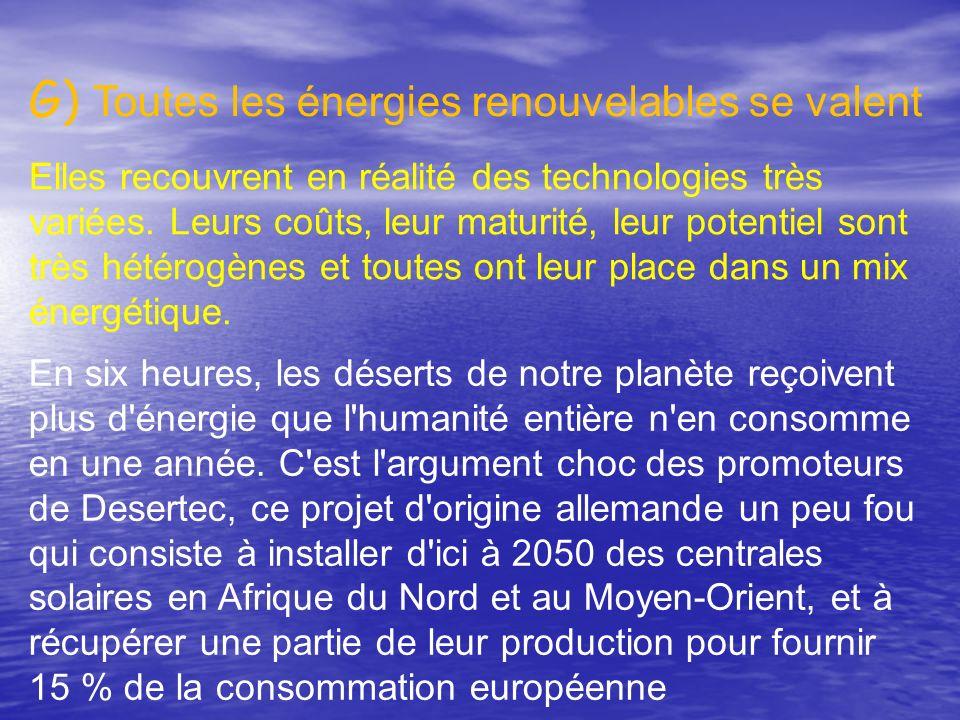 G) Toutes les énergies renouvelables se valent. Elles recouvrent en réalité des technologies très variées. Leurs coûts, leur maturité, leur potentiel