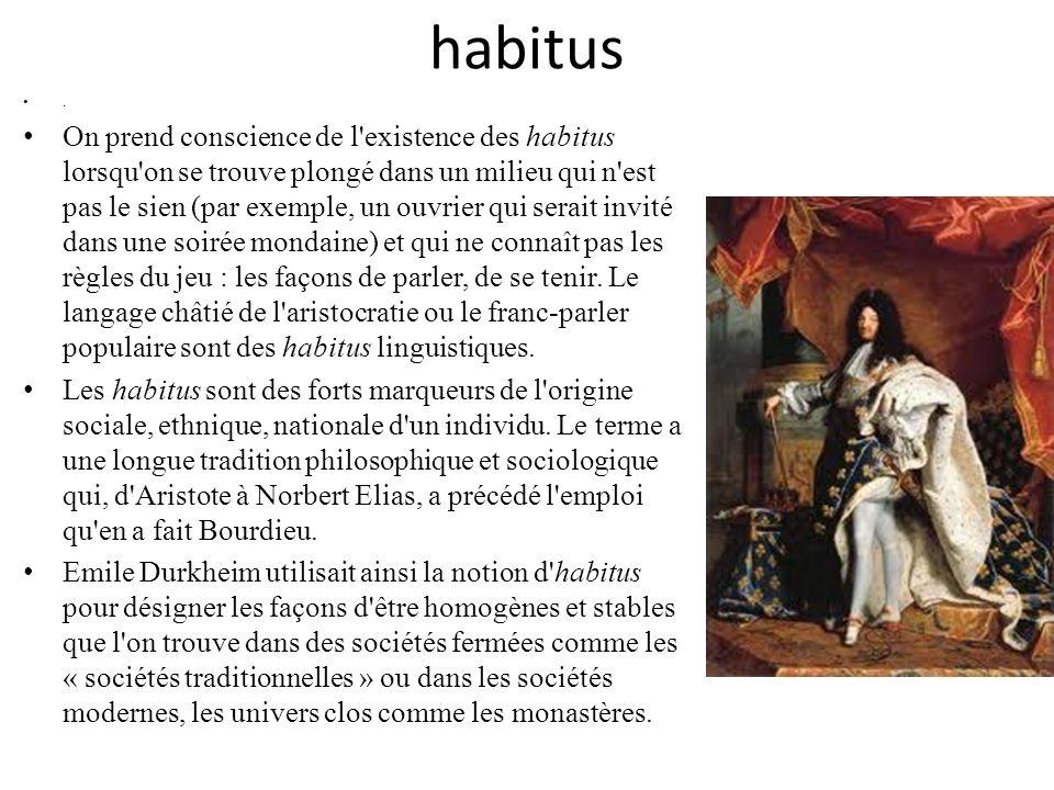 habitus Les critiques de Bourdieu font remarquer que la plupart des individus ne vivent plus aujourd hui dans des univers sociaux clos et homogènes comme la société kabyle des années 60 ou les internats de grands lycées parisiens des années 50.