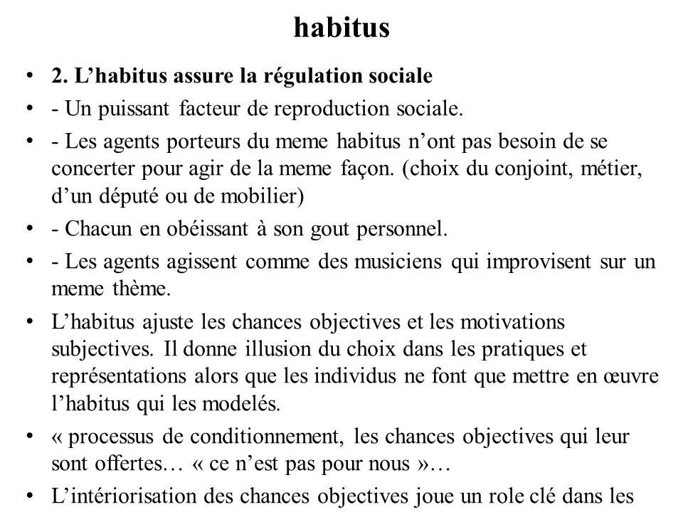 Changement social - habitus Lhabitus est également sensible au changement social Lorsquil apparaît un désajustement entre les conditions de production de lhabitus et les conditions dans lesquelles il est amené à fonctionner.