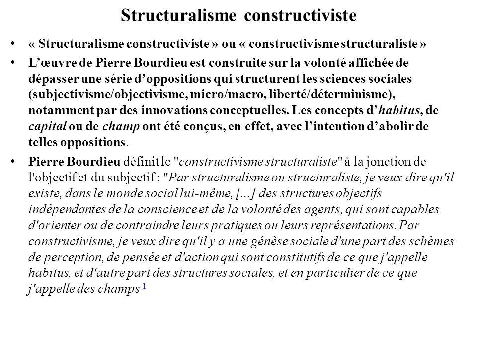 Structuralisme constructiviste 2. Dans cette double dimension, objective et construite, de la réalité sociale, une certaine primauté continue toutefois a être accordée aux structures objectives.