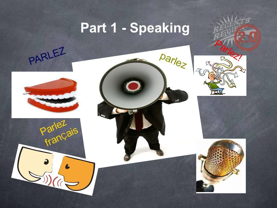 Part 1 - Speaking parlez Parlez! PARLEZ Parlez fran Ç ais