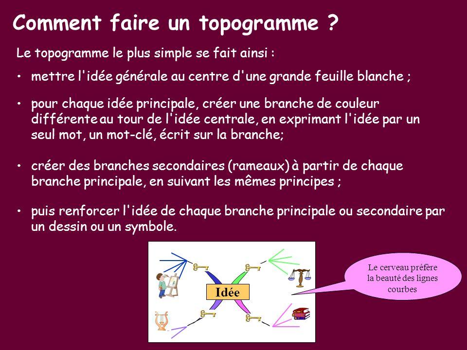 Le topogramme le plus simple se fait ainsi : mettre l'idée générale au centre d'une grande feuille blanche ; Comment faire un topogramme ? pour chaque