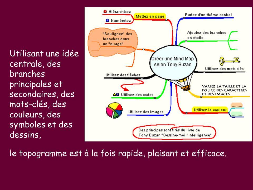 Utilisant une idée centrale, des branches principales et secondaires, des mots-clés, des couleurs, des symboles et des dessins, le topogramme est à la