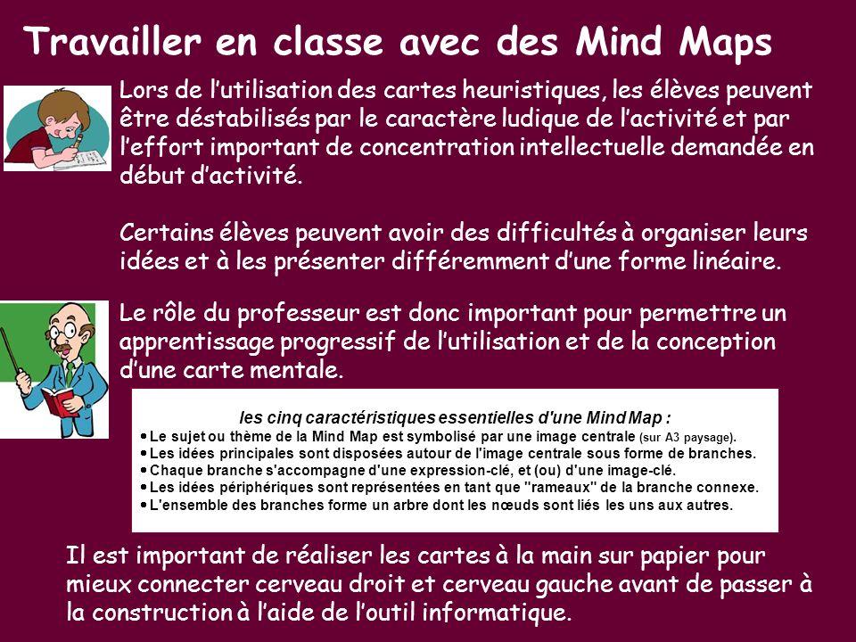 Travailler en classe avec des Mind Maps Lors de lutilisation des cartes heuristiques, les élèves peuvent être déstabilisés par le caractère ludique de