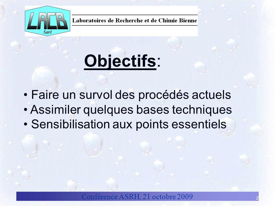 Conférence ASRH, 21 octobre 2009 2 Objectifs: Faire un survol des procédés actuels Assimiler quelques bases techniques Sensibilisation aux points esse