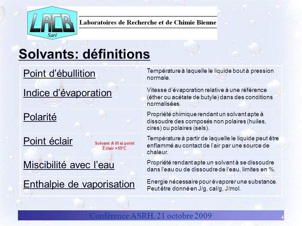 Conférence ASRH, 21 octobre 2009 4 Solvants: définitions Point débullition Température à laquelle le liquide bout à pression normale. Indice dévaporat