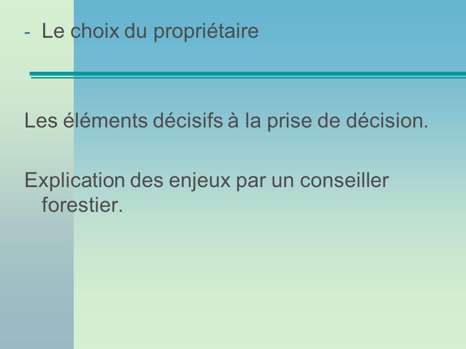 - Le choix du propriétaire Les éléments décisifs à la prise de décision.