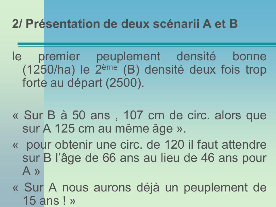 2/ Présentation de deux scénarii A et B le premier peuplement densité bonne (1250/ha) le 2 ème (B) densité deux fois trop forte au départ (2500).