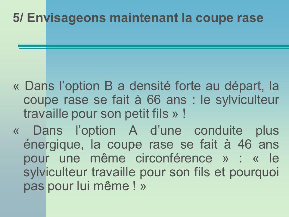 5/ Envisageons maintenant la coupe rase « Dans loption B a densité forte au départ, la coupe rase se fait à 66 ans : le sylviculteur travaille pour son petit fils » .