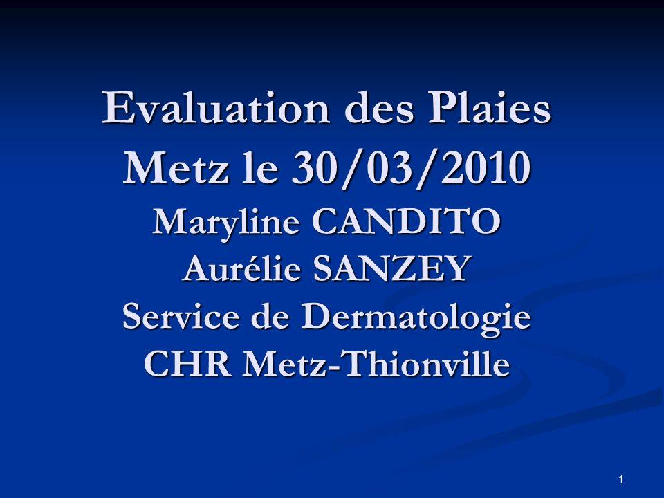 1 Evaluation des Plaies Metz le 30/03/2010 Maryline CANDITO Aurélie SANZEY Service de Dermatologie CHR Metz-Thionville