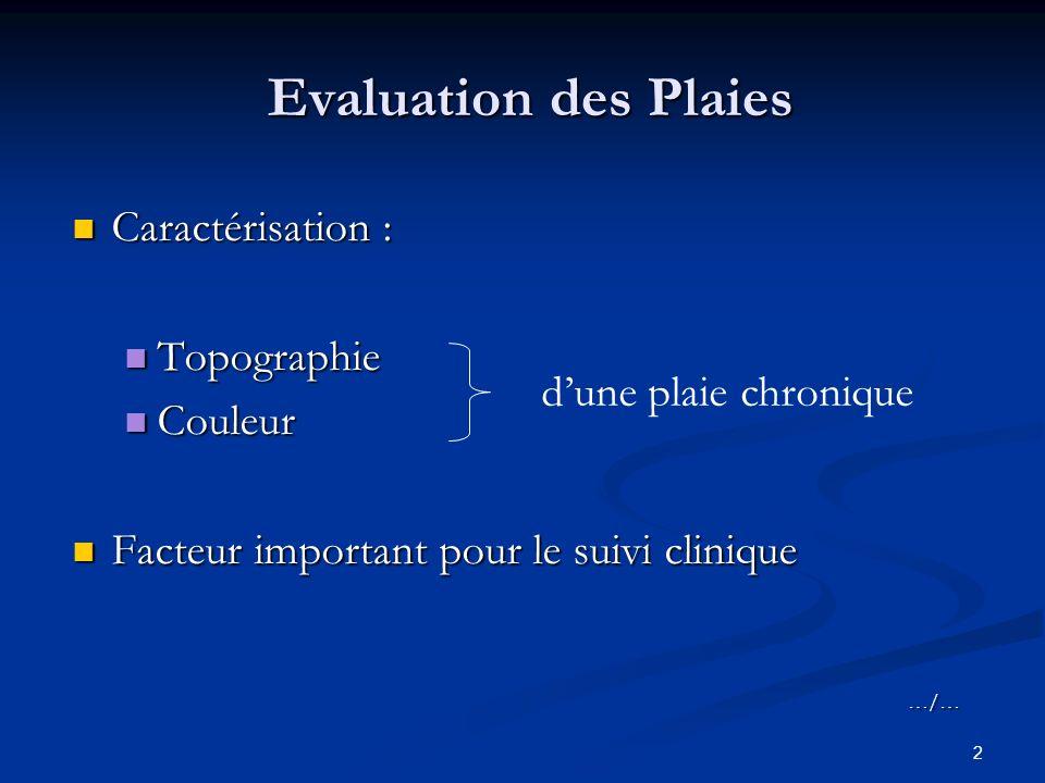 2 Evaluation des Plaies Caractérisation : Caractérisation : Topographie Topographie Couleur Couleur Facteur important pour le suivi clinique Facteur important pour le suivi clinique…/… dune plaie chronique