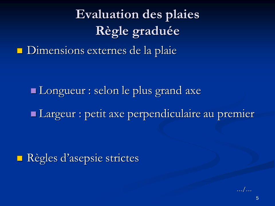 5 Evaluation des plaies Règle graduée Dimensions externes de la plaie Dimensions externes de la plaie Longueur : selon le plus grand axe Longueur : se