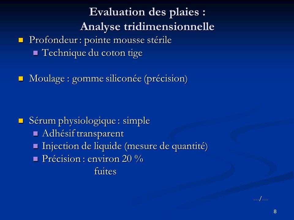 8 Evaluation des plaies : Analyse tridimensionnelle Profondeur : pointe mousse stérile Profondeur : pointe mousse stérile Technique du coton tige Tech