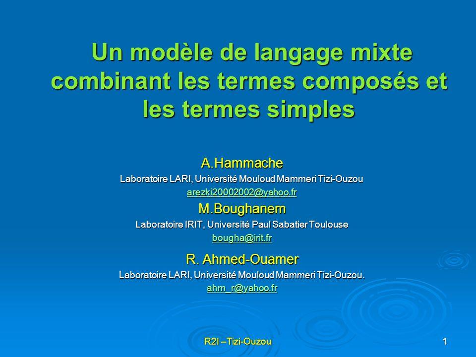R2I –Tizi-Ouzou2 Etat de lart Modèle de Langage (uni-gramme) Extensions du modèle Uni-gramme Approche proposée Expérimentation et évaluation Contexte du travail Plan Conclusion
