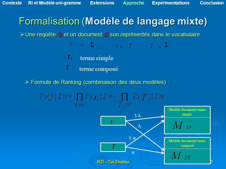 R2I –Tizi-Ouzou10 Formalisation (Modèle de langage mixte) Une requête Q et un document D son représentés dans le vocabulaire Une requête Q et un docum