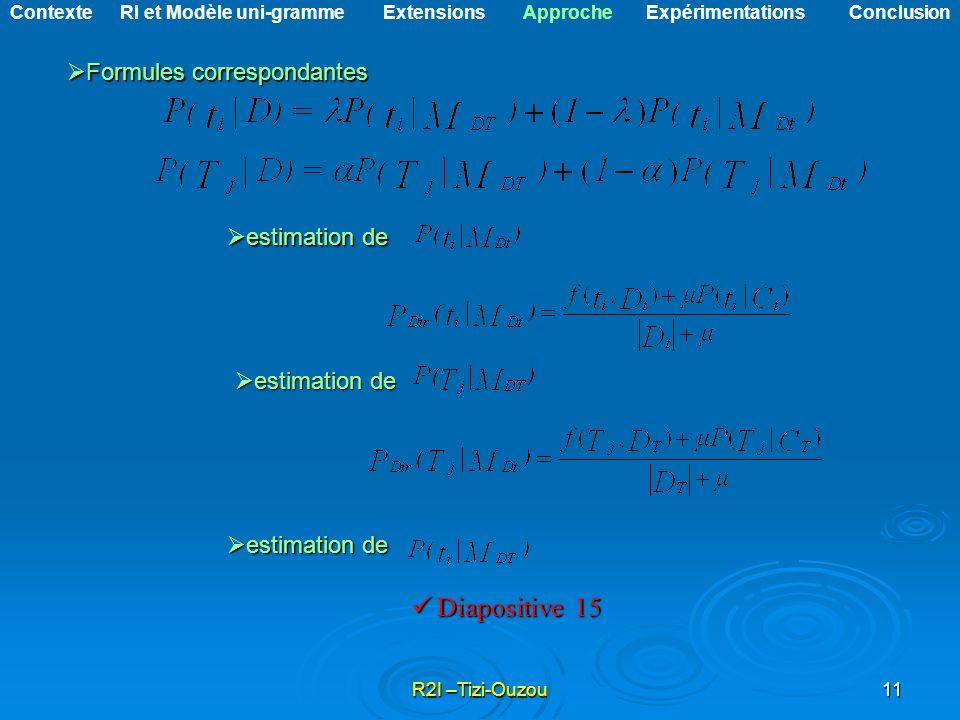 R2I –Tizi-Ouzou11 Formules correspondantes Formules correspondantes estimation de estimation de Diapositive 15 Diapositive 15 Contexte RI et Modèle un