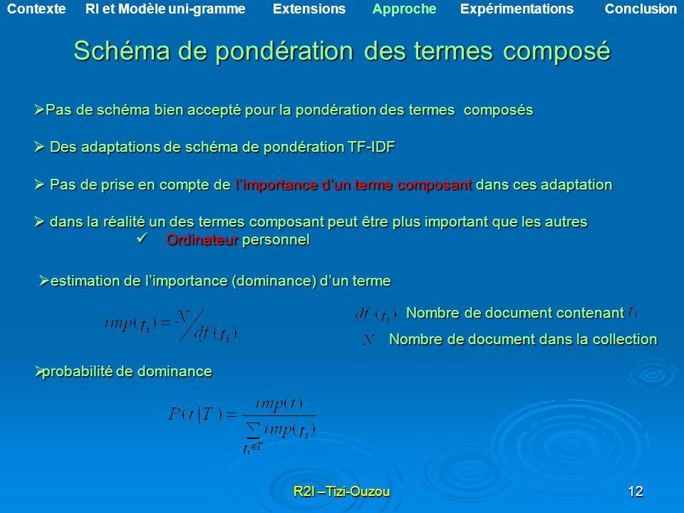 R2I –Tizi-Ouzou12 Schéma de pondération des termes composé Schéma de pondération des termes composé Pas de schéma bien accepté pour la pondération des