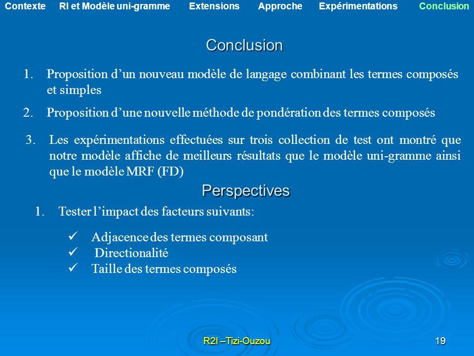 R2I –Tizi-Ouzou19 Conclusion 1.Proposition dun nouveau modèle de langage combinant les termes composés et simples 2.Proposition dune nouvelle méthode