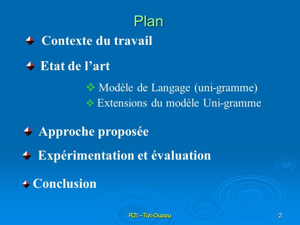 R2I –Tizi-Ouzou2 Etat de lart Modèle de Langage (uni-gramme) Extensions du modèle Uni-gramme Approche proposée Expérimentation et évaluation Contexte