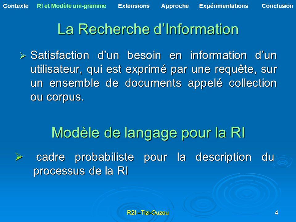 R2I –Tizi-Ouzou4 La Recherche dInformation Satisfaction dun besoin en information dun utilisateur, qui est exprimé par une requête, sur un ensemble de