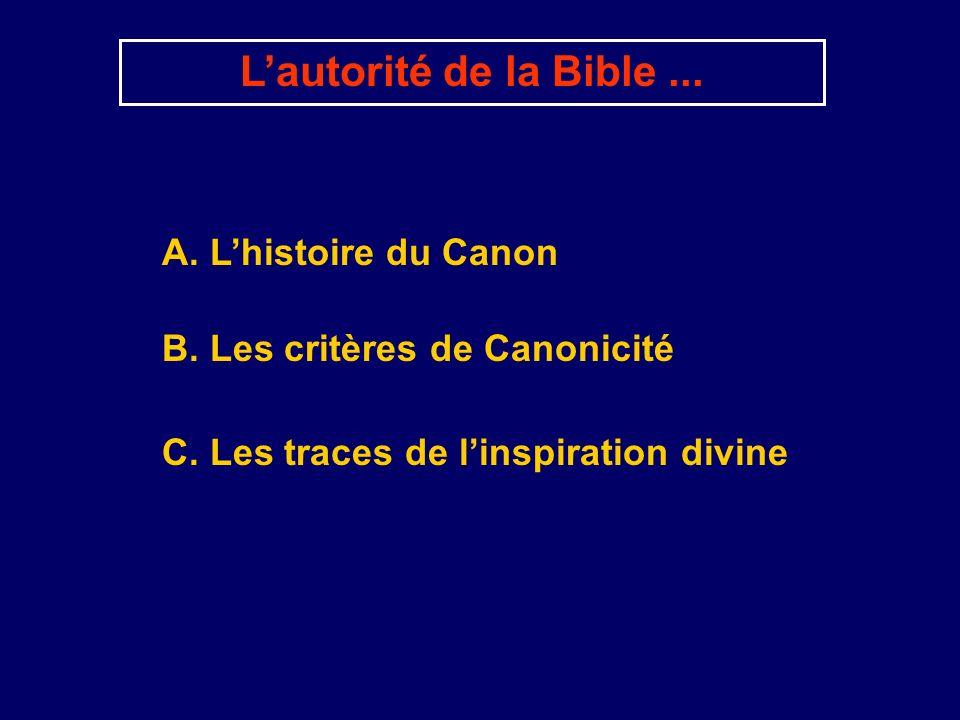 A. Lhistoire du Canon Lautorité de la Bible... B. Les critères de Canonicité C. Les traces de linspiration divine