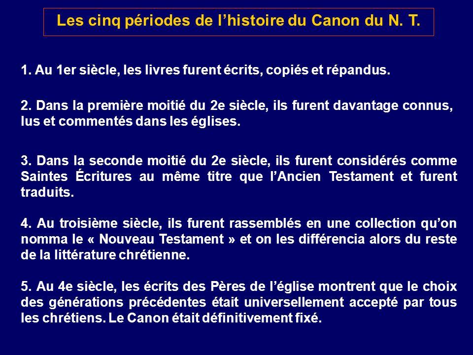 Les cinq périodes de lhistoire du Canon du N. T. 1. Au 1er siècle, les livres furent écrits, copiés et répandus. 2. Dans la première moitié du 2e sièc