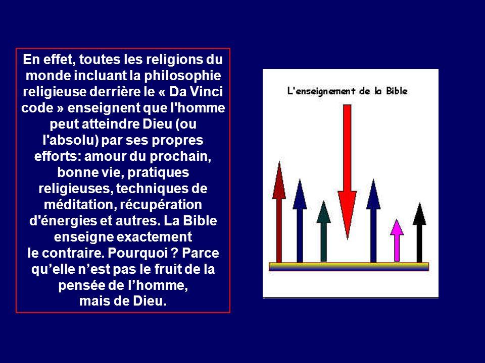 En effet, toutes les religions du monde incluant la philosophie religieuse derrière le « Da Vinci code » enseignent que l'homme peut atteindre Dieu (o