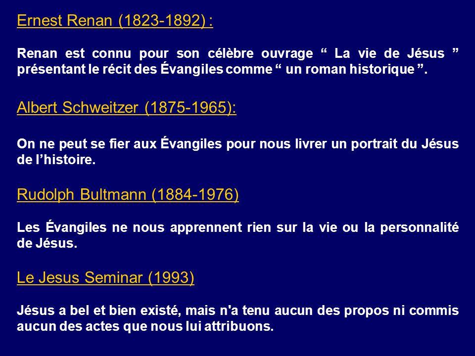 Ernest Renan (1823-1892) : Renan est connu pour son célèbre ouvrage La vie de Jésus présentant le récit des Évangiles comme un roman historique. Alber