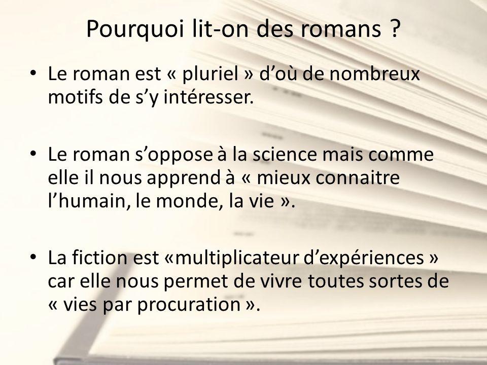 Pourquoi lit-on des romans ? Le roman est « pluriel » doù de nombreux motifs de sy intéresser. Le roman soppose à la science mais comme elle il nous a