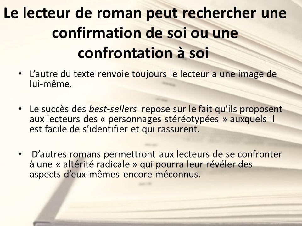 Le lecteur de roman peut rechercher une confirmation de soi ou une confrontation à soi Lautre du texte renvoie toujours le lecteur a une image de lui-