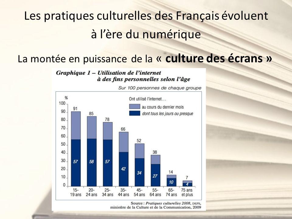 Les pratiques culturelles des Français évoluent à lère du numérique La montée en puissance de la « culture des écrans »