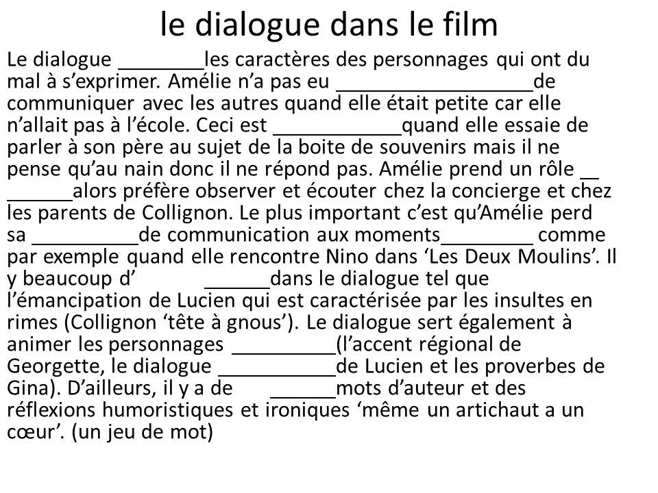 le dialogue dans le film Le dialogue les caractères des personnages qui ont du mal à sexprimer. Amélie na pas eu de communiquer avec les autres quand