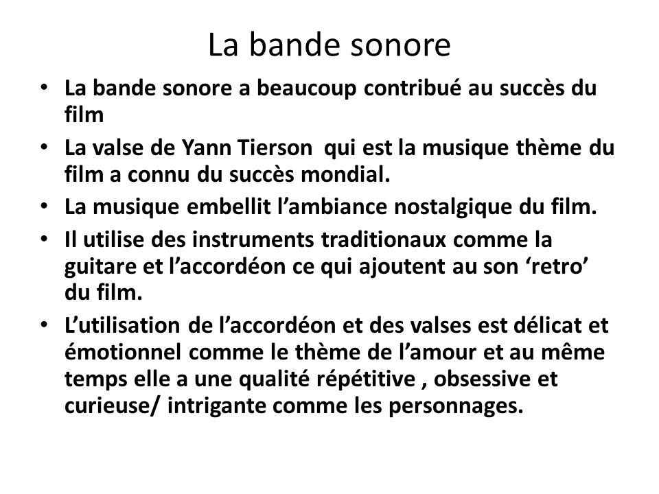 La bande sonore La bande sonore a beaucoup contribué au succès du film La valse de Yann Tierson qui est la musique thème du film a connu du succès mon