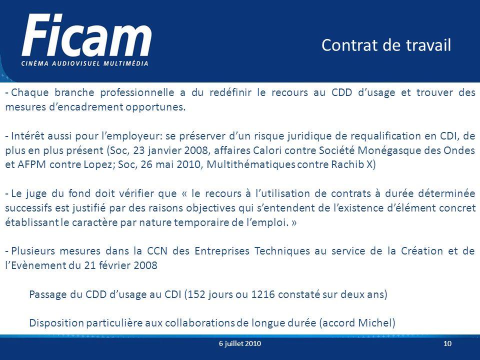 Contrat de travail 6 juillet 201010 - Chaque branche professionnelle a du redéfinir le recours au CDD dusage et trouver des mesures dencadrement opportunes.