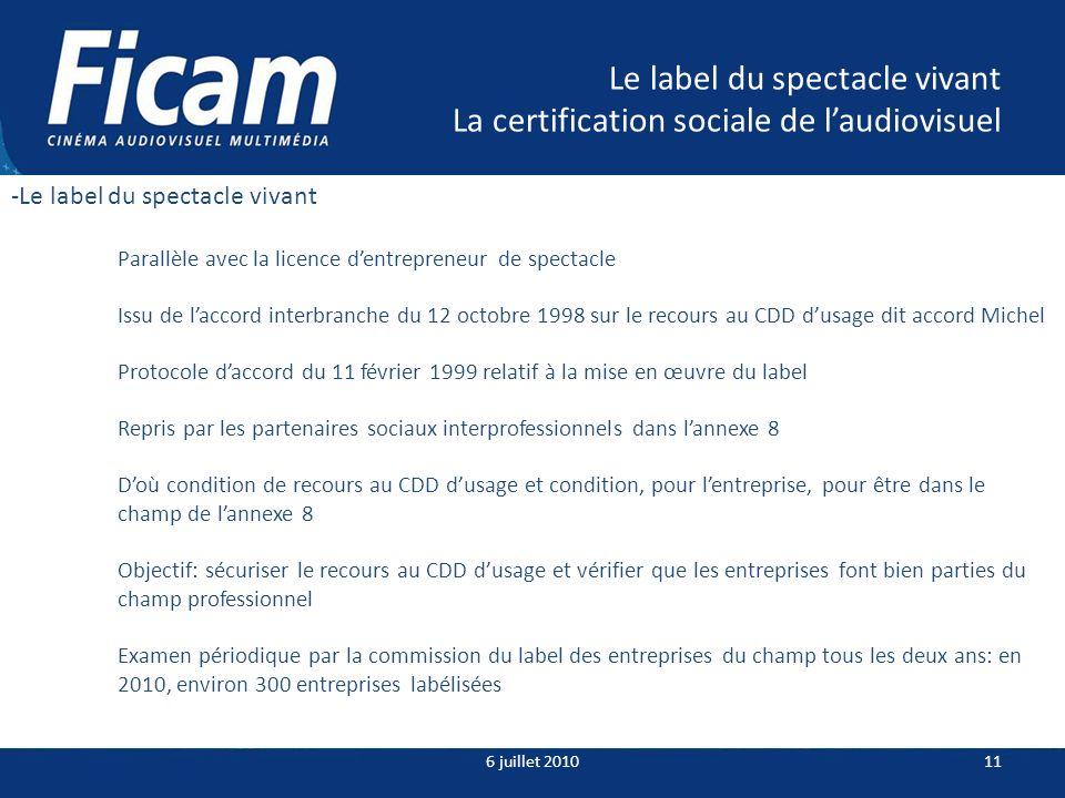 Le label du spectacle vivant La certification sociale de laudiovisuel 6 juillet 201011 -Le label du spectacle vivant Parallèle avec la licence dentrep