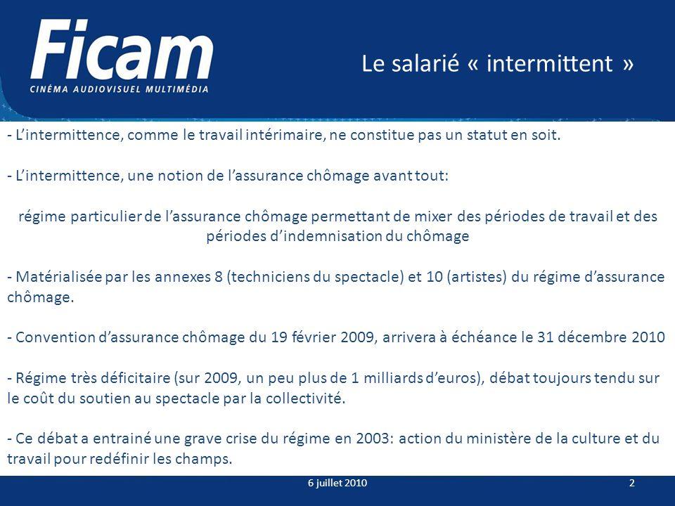 Le salarié « intermittent » 6 juillet 20102 - Lintermittence, comme le travail intérimaire, ne constitue pas un statut en soit.