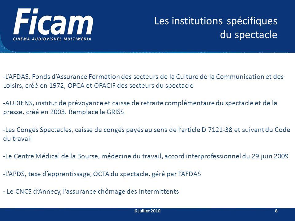 Les institutions spécifiques du spectacle 6 juillet 20108 -LAFDAS, Fonds dAssurance Formation des secteurs de la Culture de la Communication et des Lo