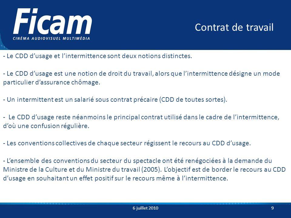 Contrat de travail 6 juillet 20109 - Le CDD dusage et lintermittence sont deux notions distinctes.