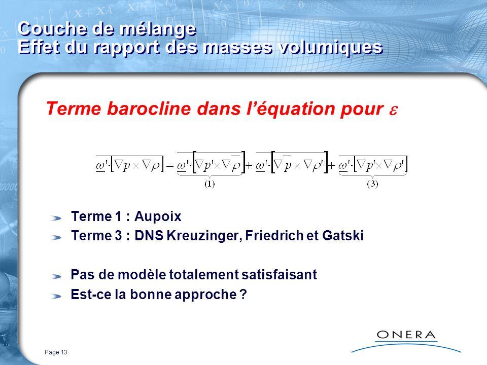 Page 13 Couche de mélange Effet du rapport des masses volumiques Terme barocline dans léquation pour Terme 1 : Aupoix Terme 3 : DNS Kreuzinger, Friedr