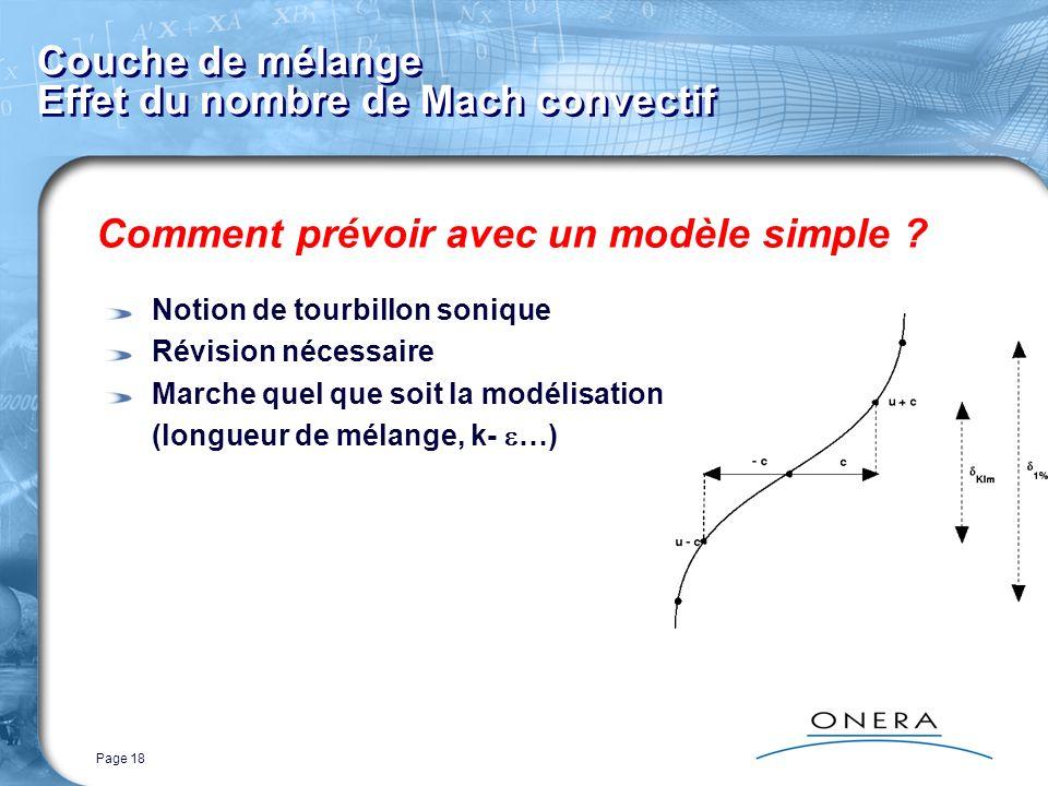 Page 18 Couche de mélange Effet du nombre de Mach convectif Comment prévoir avec un modèle simple ? Notion de tourbillon sonique Révision nécessaire M