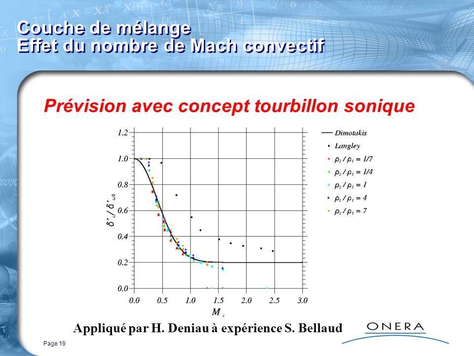 Page 19 Couche de mélange Effet du nombre de Mach convectif Prévision avec concept tourbillon sonique Appliqué par H. Deniau à expérience S. Bellaud