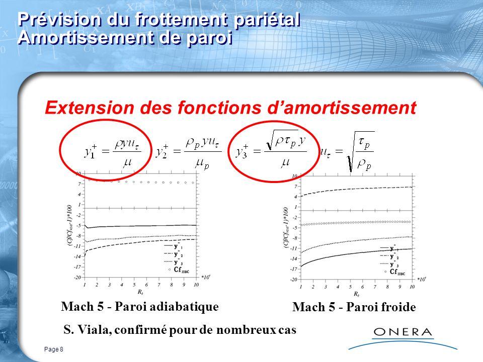 Page 8 Prévision du frottement pariétal Amortissement de paroi Extension des fonctions damortissement Mach 5 - Paroi froide Mach 5 - Paroi adiabatique