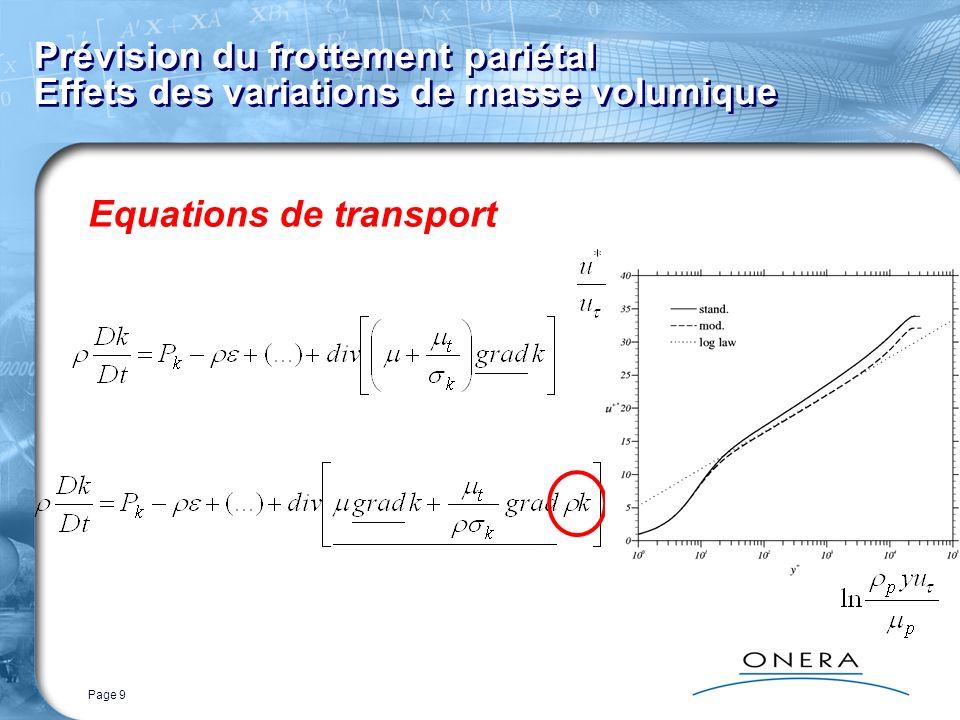 Page 10 Prévision du frottement pariétal Effets des variations de masse volumique Expérience de Mabey et al.