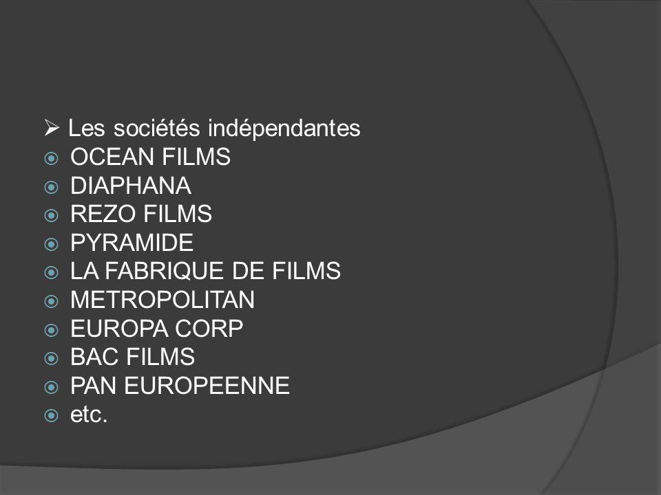 Les sociétés indépendantes OCEAN FILMS DIAPHANA REZO FILMS PYRAMIDE LA FABRIQUE DE FILMS METROPOLITAN EUROPA CORP BAC FILMS PAN EUROPEENNE etc.