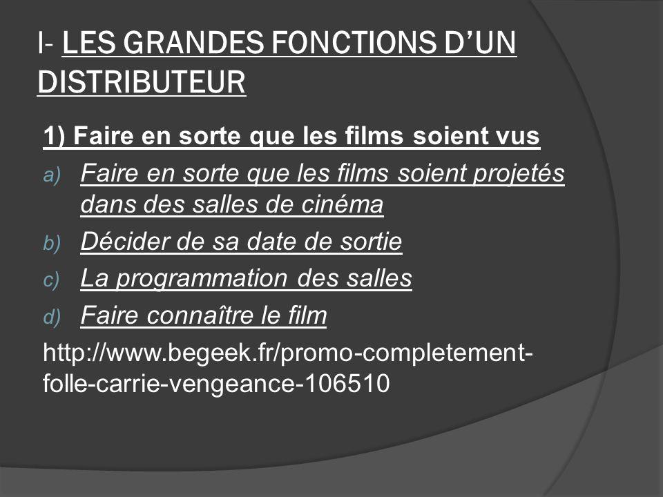 I- LES GRANDES FONCTIONS DUN DISTRIBUTEUR 1) Faire en sorte que les films soient vus a) Faire en sorte que les films soient projetés dans des salles de cinéma b) Décider de sa date de sortie c) La programmation des salles d) Faire connaître le film http://www.begeek.fr/promo-completement- folle-carrie-vengeance-106510
