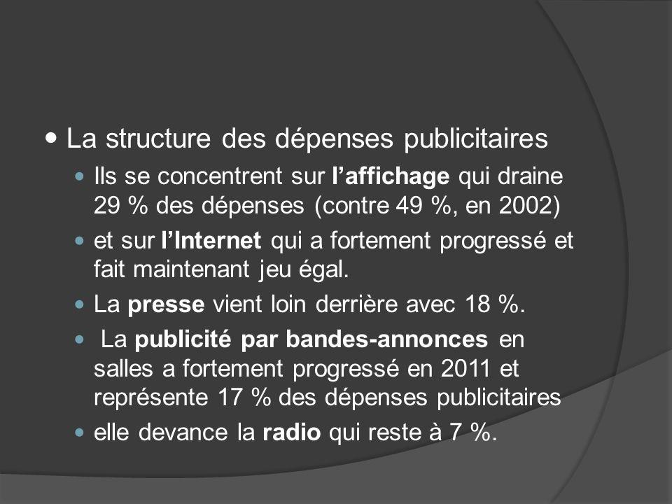 La structure des dépenses publicitaires Ils se concentrent sur laffichage qui draine 29 % des dépenses (contre 49 %, en 2002) et sur lInternet qui a fortement progressé et fait maintenant jeu égal.